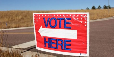 Voting sign indicating a voting location